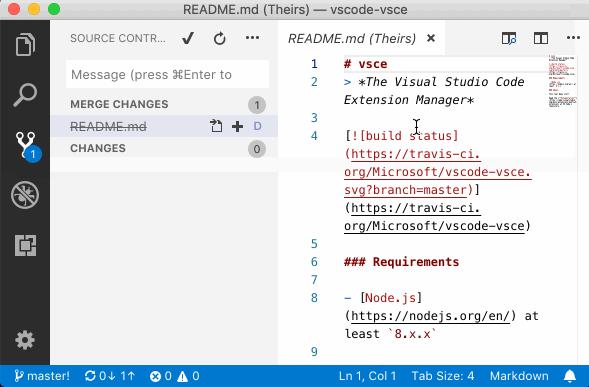 Conflicto de eliminación Git en Visual Studio Code 1.28