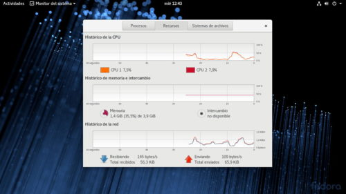 Consumo de RAM de Fedora 28 Workstation recién iniciado