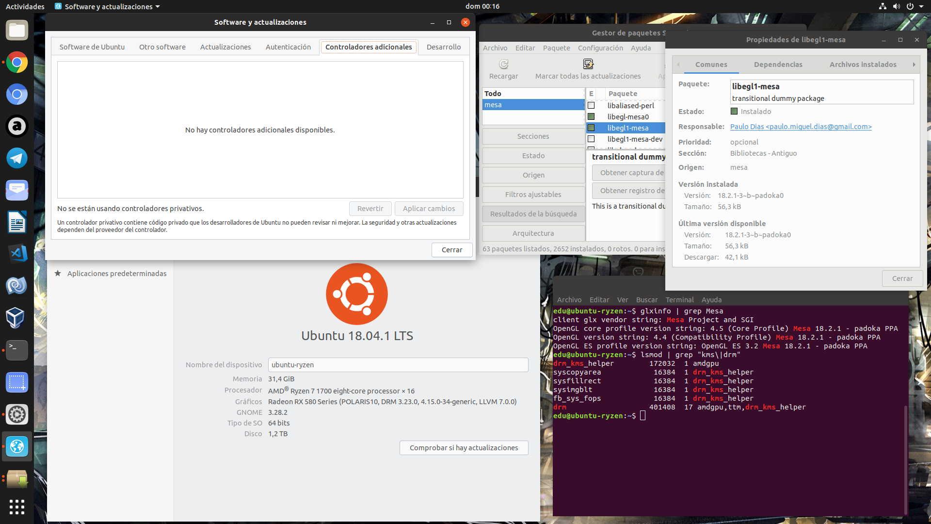 No aparece nada en Controladores Adicionales cuando usa una GPU AMD en Ubuntu