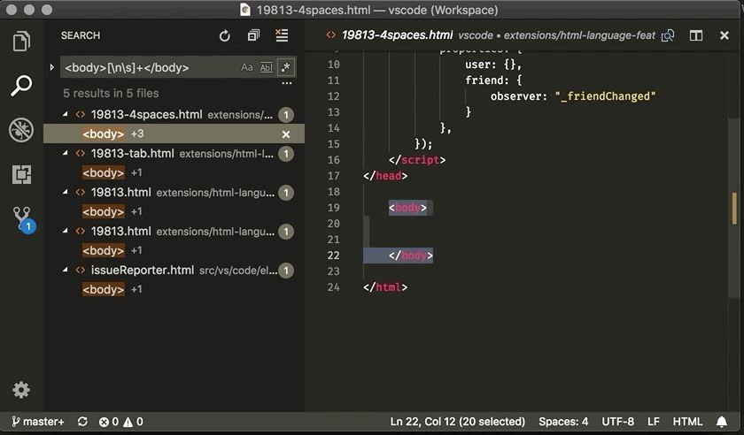 Búsqueda multilínea mediante expresiones regulares en Visual Studio Code 1.29