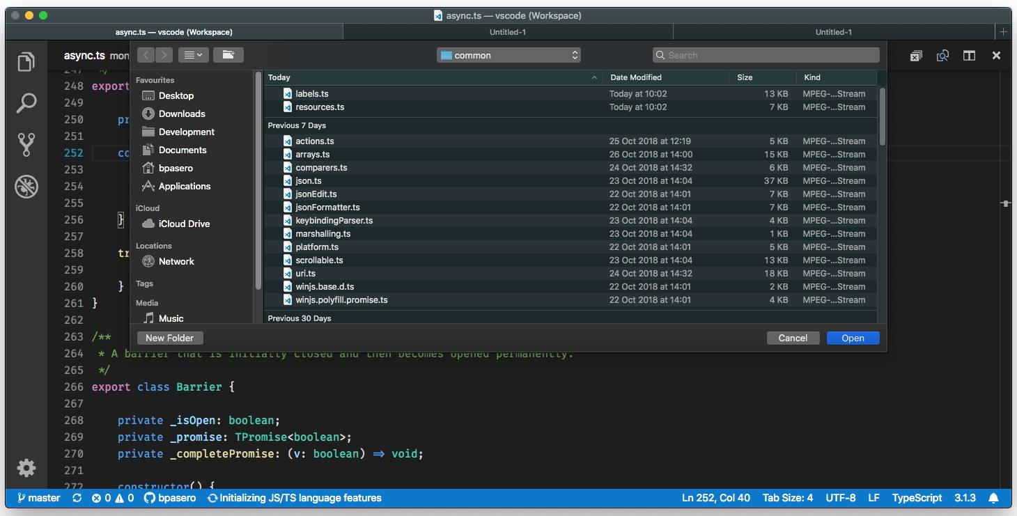 Tema Oscuro de Visual Studio Code 1.29 en macOS Mojave