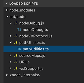 Vista de scripts cargados en Visual Studio Code 1.29