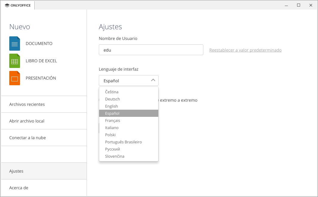 Ajustando el idioma en ONLYOFFICE Desktop Editors v5.2