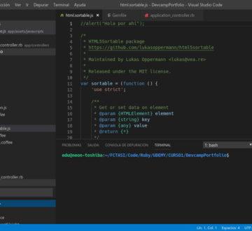 Barra de menú propia de Visual Studio Code 1.30 en GNU/Linux