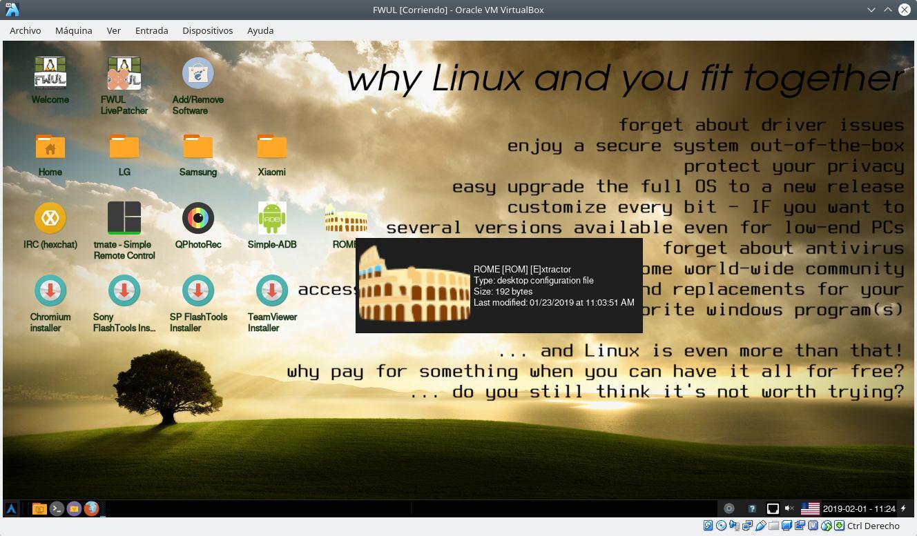 FWUL ejecutado en VirtualBox