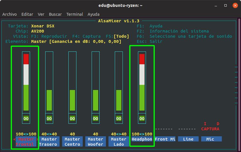 Ajustar la salida de sonido desde alsamixer usando una ASUS Xonar en Linux