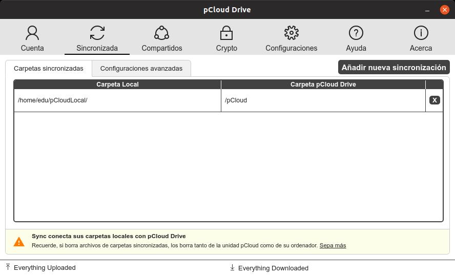 Cliente de sincronización de pCloud
