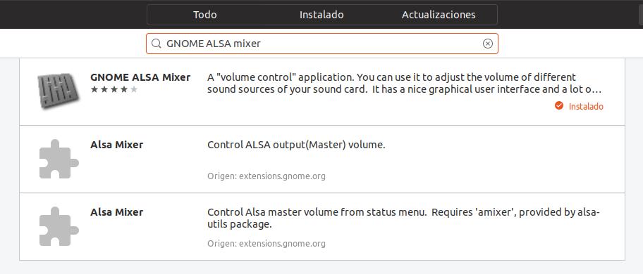 Instalando GNOME ALSA mixer desde GNOME Software en Ubuntu 18.04