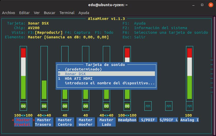 Seleccionando un chip de sonido ASUS Xonar desde alsamixer en Linux