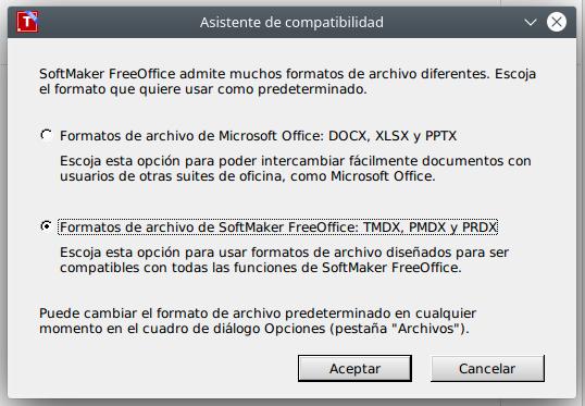 FreeOffice no permite guardar ficheros en ODF