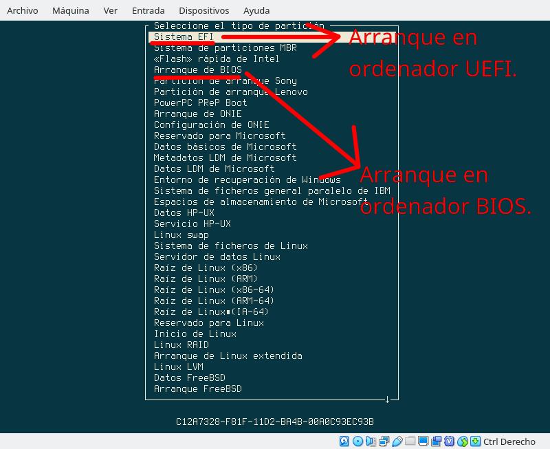 Cómo definir una partición de arranque en la instalación de Anarchy Linux en UEFI, BIOS y GPT