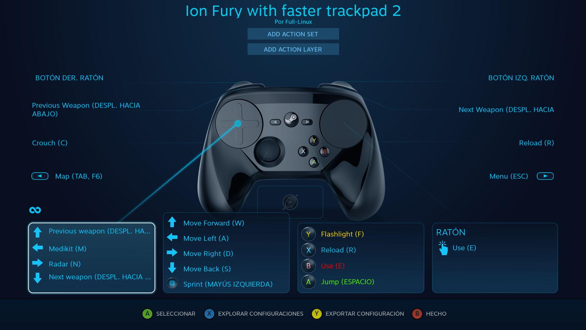 Configuración personal del Steam Controller para Ion Fury para soportar los radares y los kits medicos