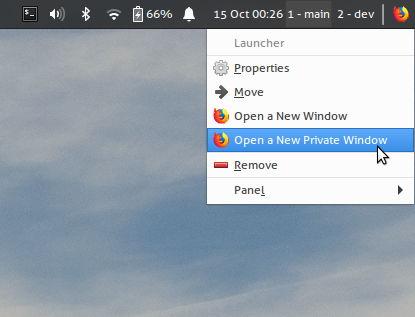 Abriendo una ventana privada en Firefox desde Xfce 4.16
