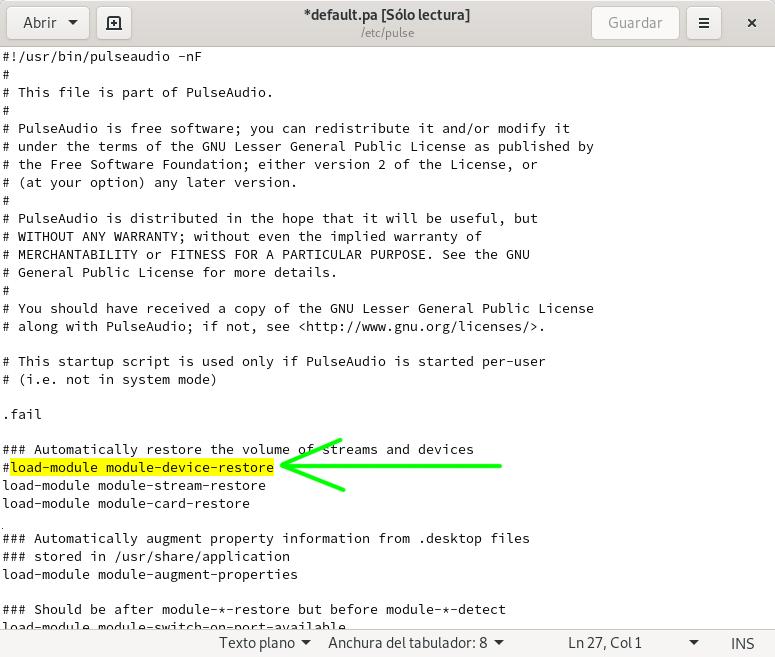 Inhabilitando load-module module-device-restore en PulseAudio para guardar la configuración de alsamixer