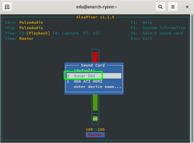 Seleccionando una tarjeta o chip de sonido en alsamixer