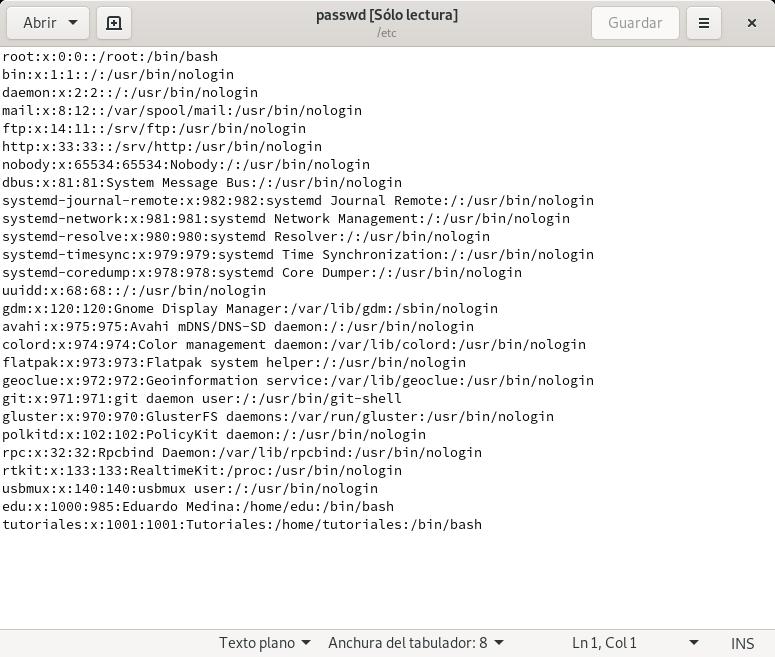 fichero /etc/passwd en Arch Linux