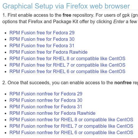 Paquetes de RPMFusion para Fedora