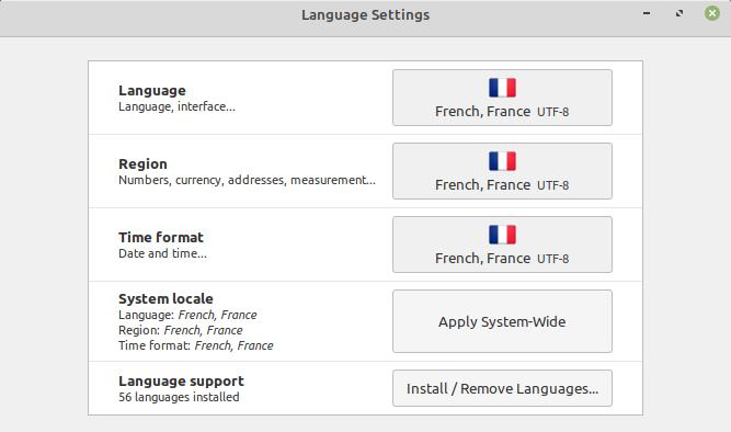 Configuración del idioma en Linux Mint 19.3