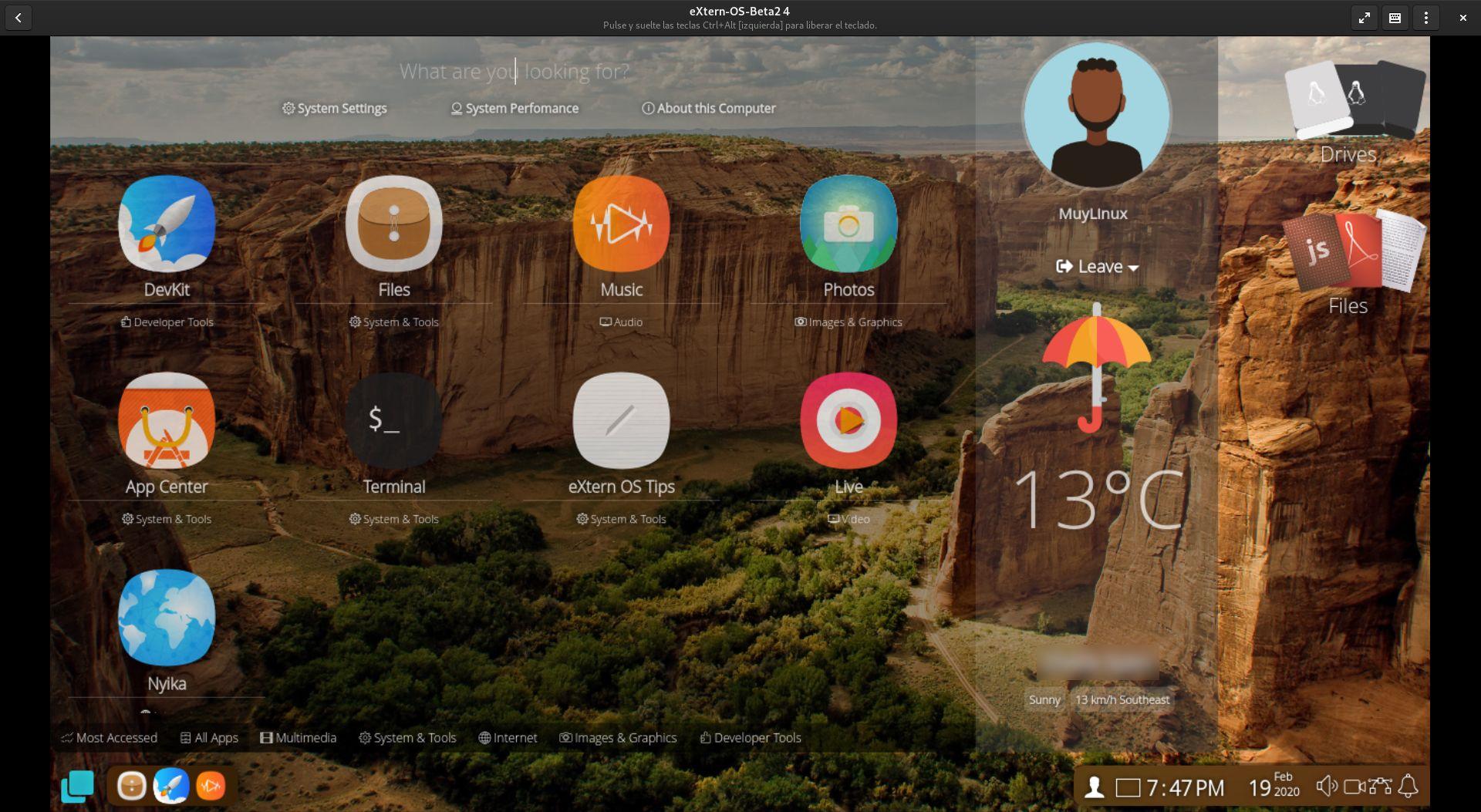 lanzador de aplicaciones de eXtern OS