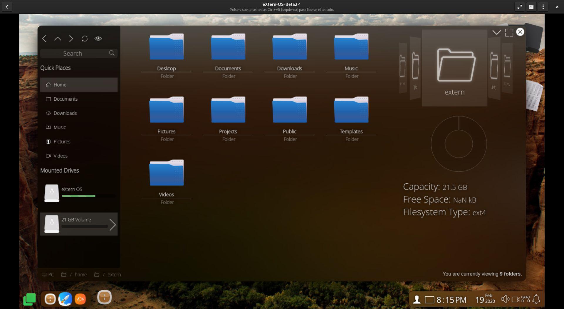 explorador de archivos de eXtern OS
