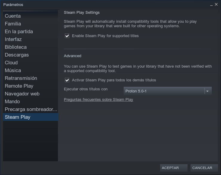 Activar Steam Play/Proton desde el cliente de Steam