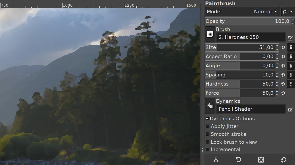Controles compactos de las herramientas en GIMP 2.10.18