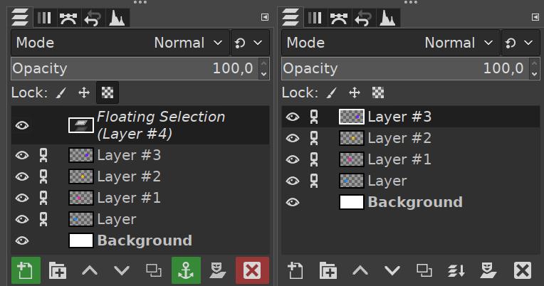 Cuadro de diálogo para las capas de GIMP 2.10.18