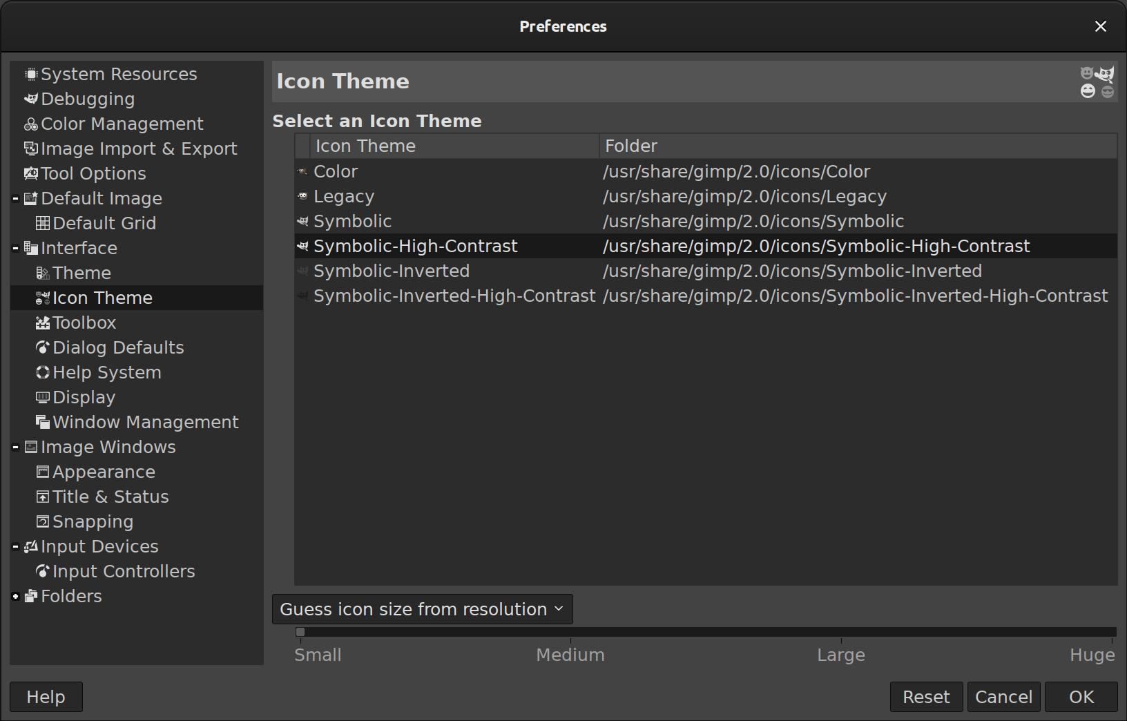 nuevo tema de iconos de alto contraste simbólico de GIMP 2.10.18