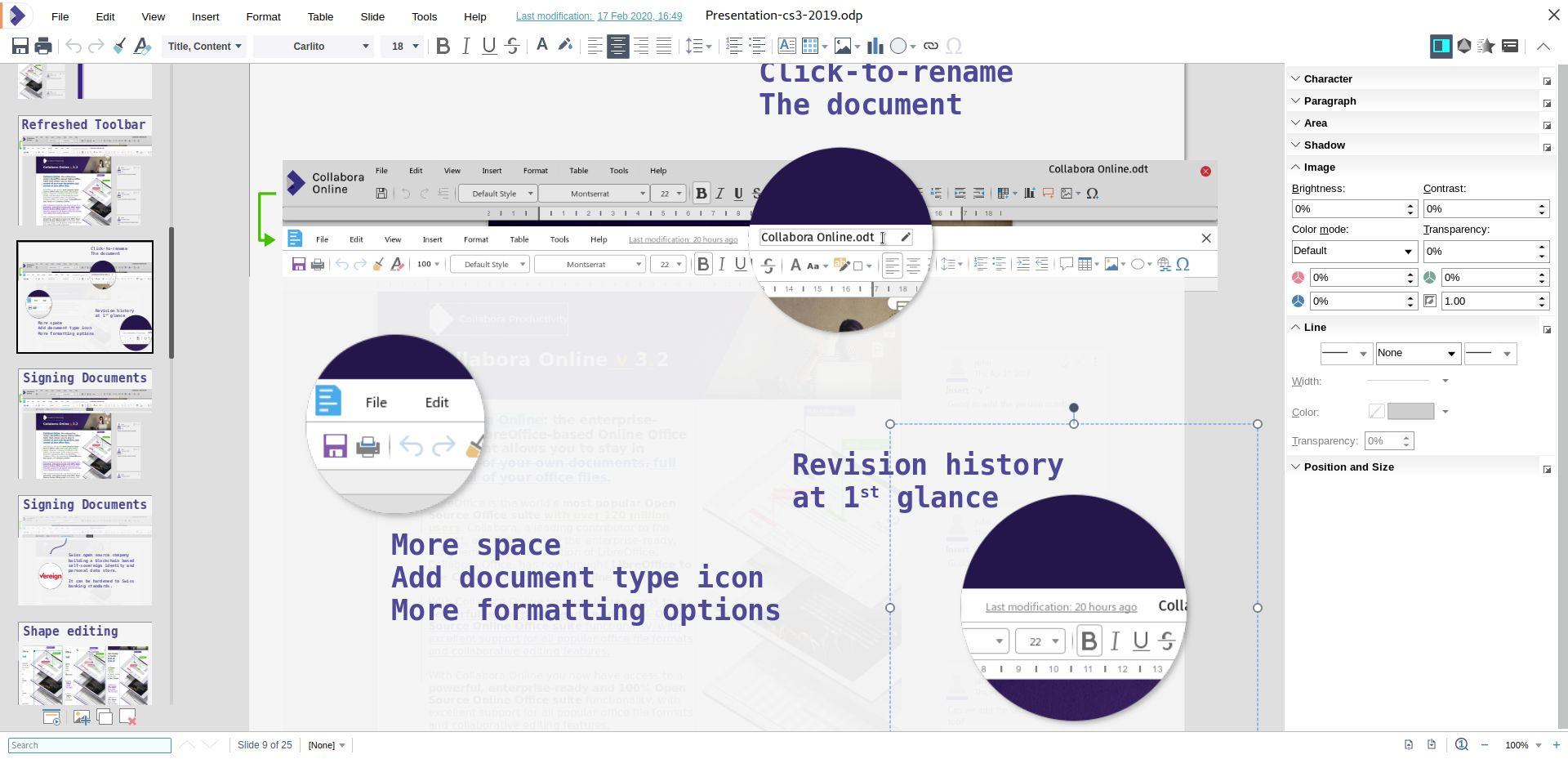 barra lateral de la aplicación de presentaciones de diapositivas digitales de Collabora Online 4.2, Impress