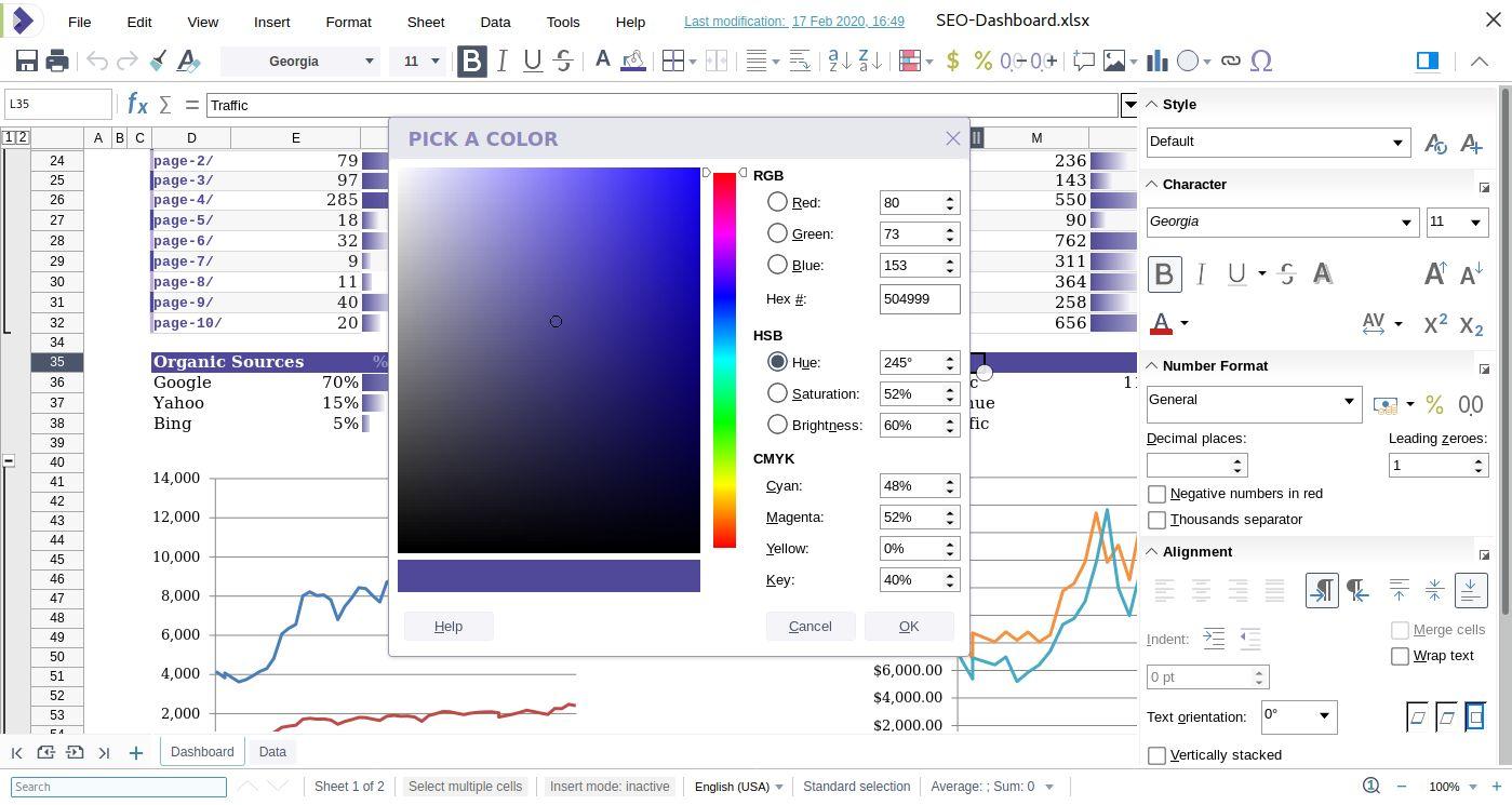 Selector de color de Collabora Online 4.2