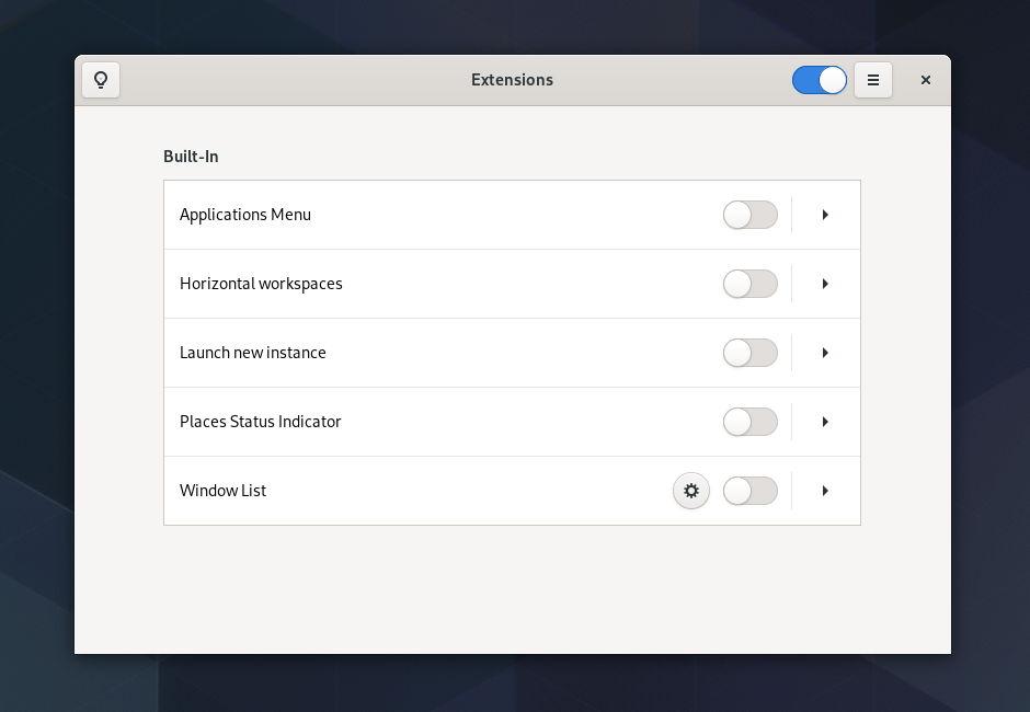 Aplicación de extensiones de GNOME 3.36