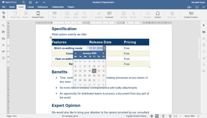 Documentos con formularios en ONLYOFFICE Online Editors 5.5