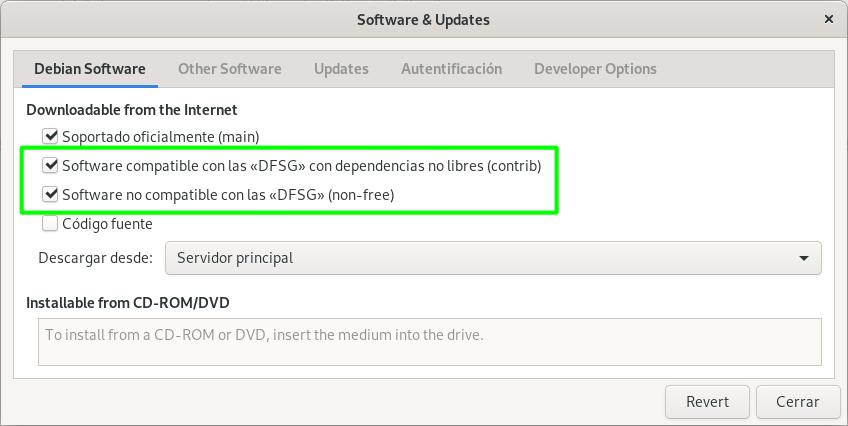 Habilitar los repositorios non-free en Debian Stable con GNOME