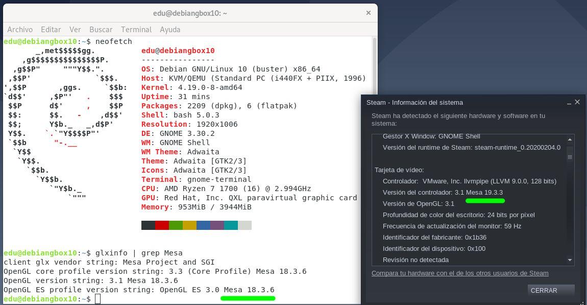 Versiones de Mesa de Debian Stable y la versión en Flatpak de Steam
