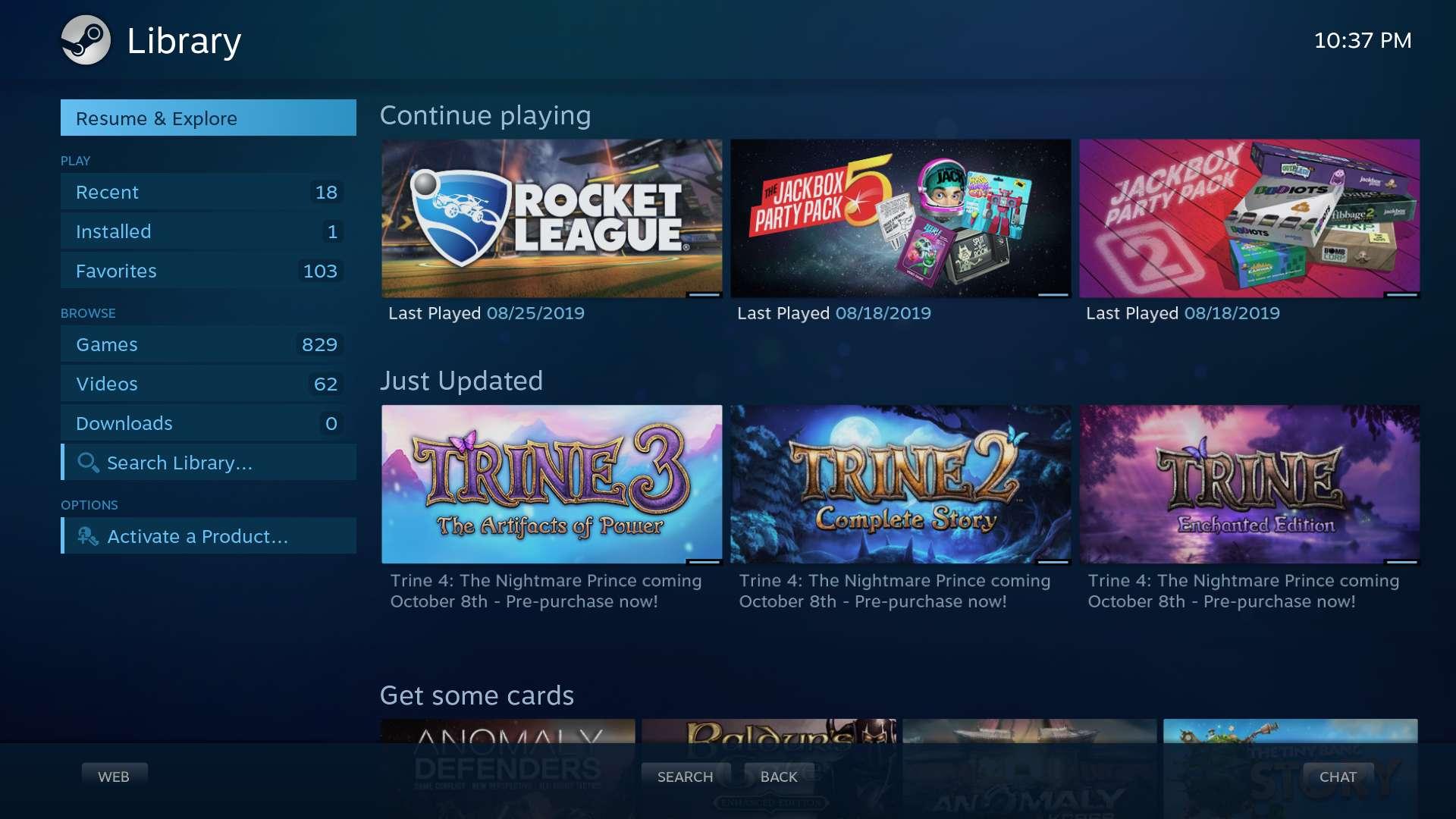 Big Picture de Steam en GamerOS