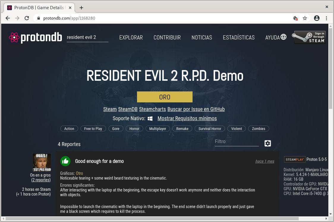 Demo de Resident Evil 2 Remake en ProtonDB