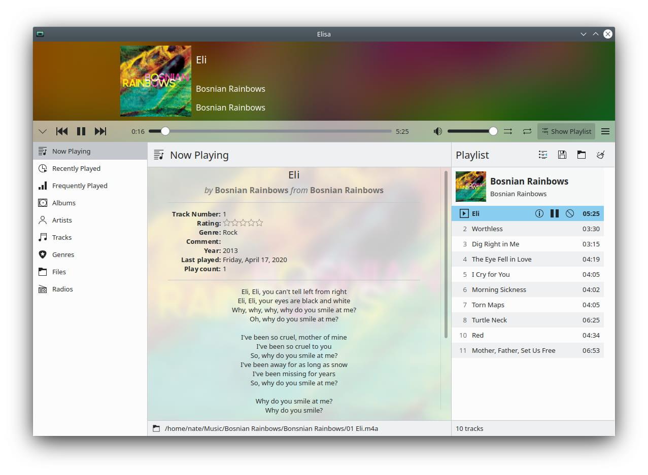 Elisa - KDE Applications 20.04