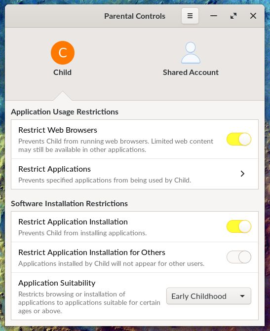 Control parental de Endless OS 3.8