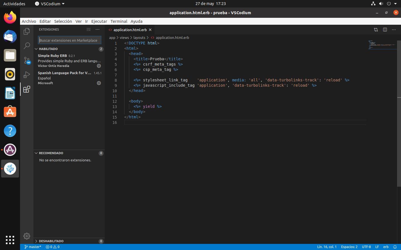 VSCodium con extensiones