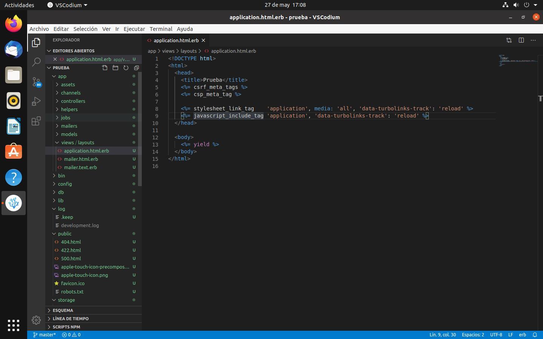 VSCodium con un proyecto de Ruby on Rails