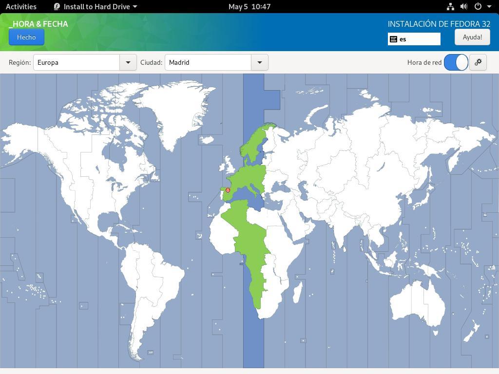 Estableciendo fecha y hora en la instalacion de Fedora 32 Workstation