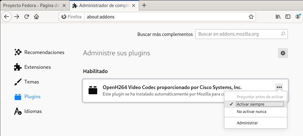 Activar el soporte multimedia de OpenH264 de Cisco en Firefox