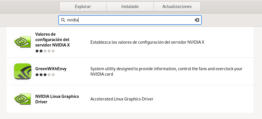 Driver de NVIDIA encontrado en GNOME Software usando Fedora 32 Workstation