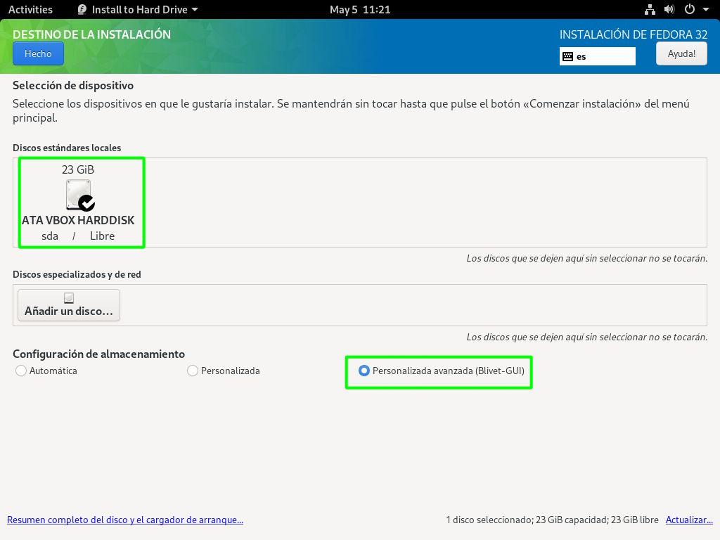 Iniciar el particionador Blivet de Fedora 32 Workstation