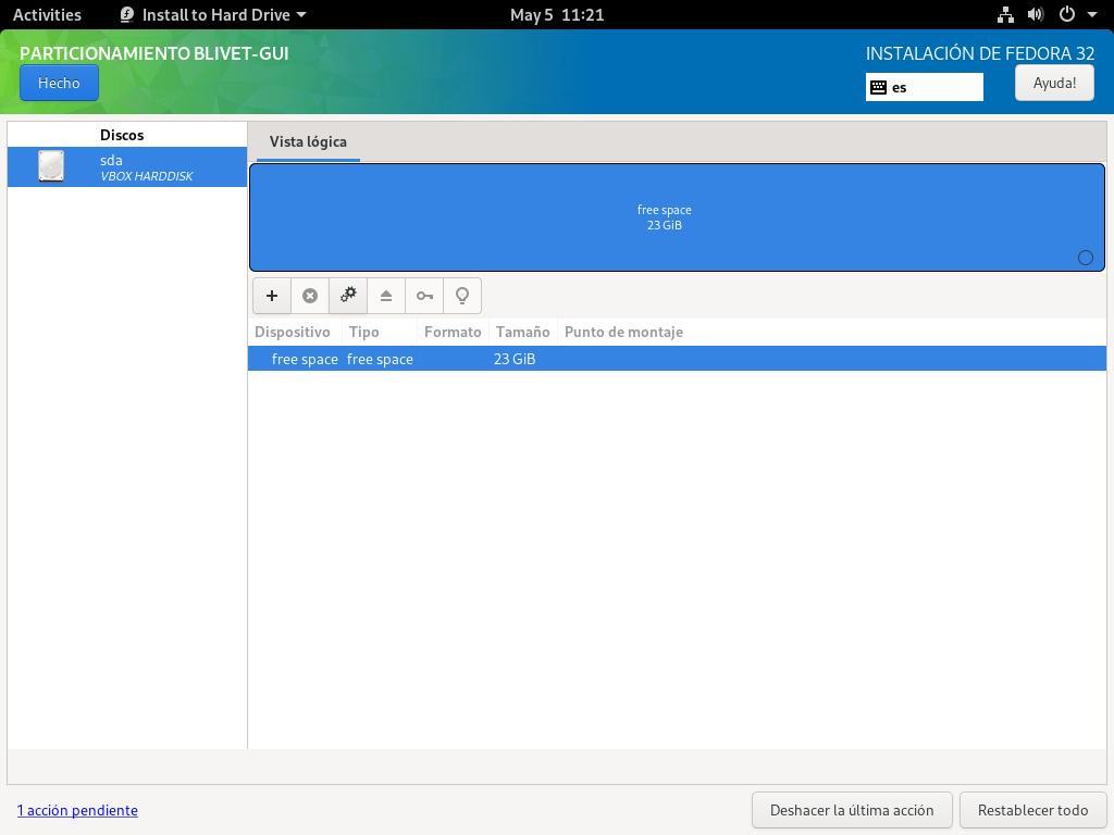 Pantalla principal del instalador Blivet de Fedora 32 Workstation