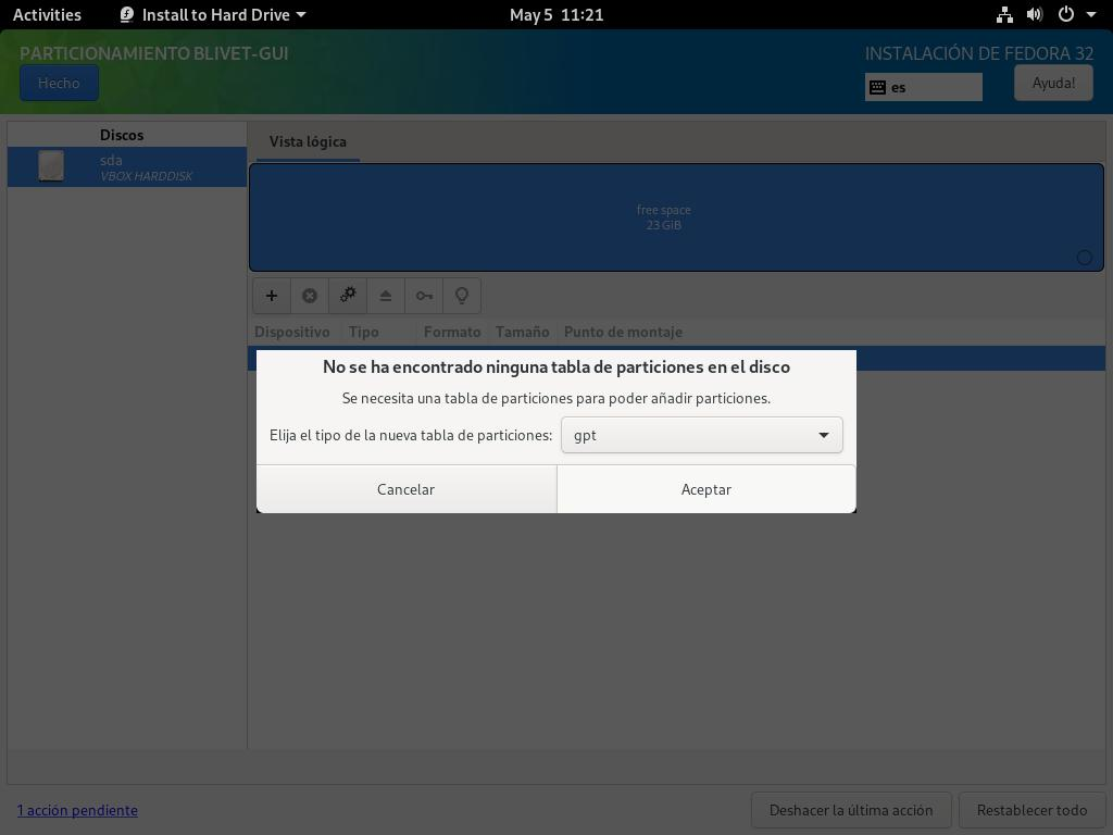 Confirmar la tabla de particiones GPT para instalar Fedora 32 Workstation en un ordenador UEFI