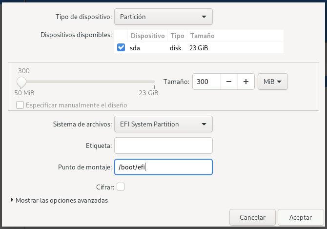 Crear la partición EFI con el particionador Blivet para instalar Fedora 32 Workstation