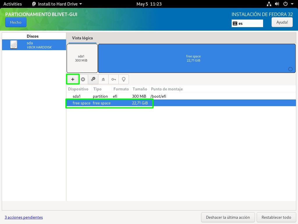Crear la partición raíz del sistema con Blivet en Fedora 32 Workstation