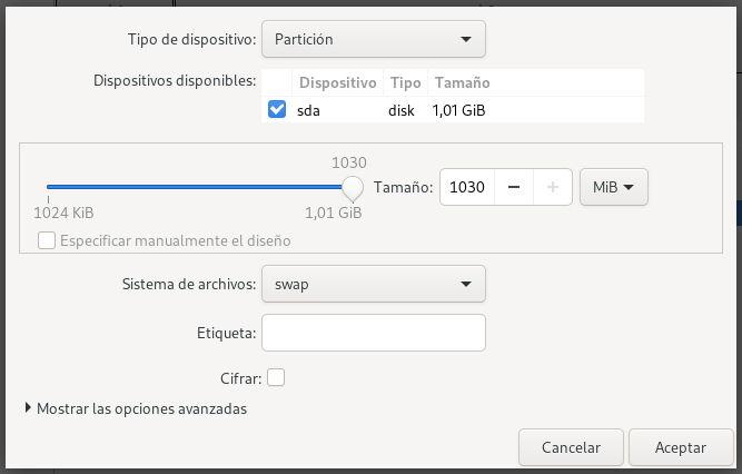Definiendo la partición Swap con Blivet en Fedora 32 Workstation