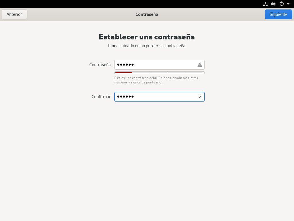 Estableciendo la contraseña del primer usuario en Fedora 32 Workstation